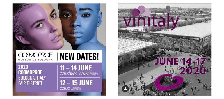 Nuove date Cosmoprof 2020 e Vinitaly 2020 giugno