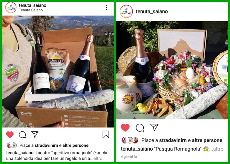 Aperitivo romagnolo e Pasqua Romagnola Tenuta Saiano Rimini consegne a domicilio vini e menù per Pasqua