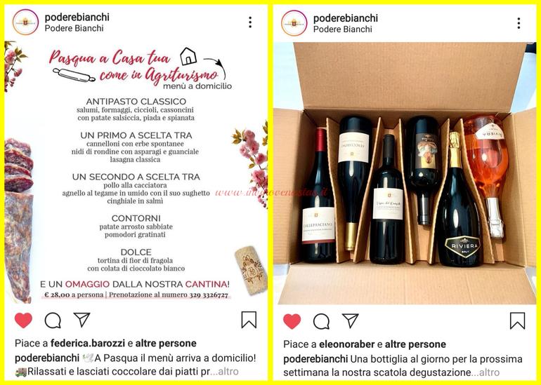 Podere Bianchi Rimini consegne a domicilio vino e menù Pasqua 2020