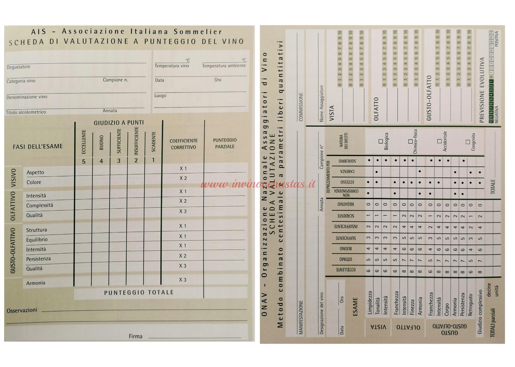 Esempio scheda valutazione vino AIS e ONAV