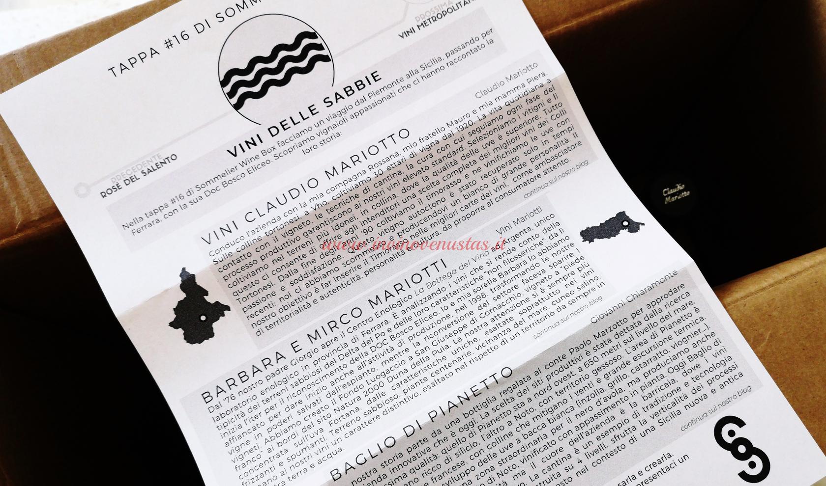Descrizione vini tappa Sommelier Wine Box