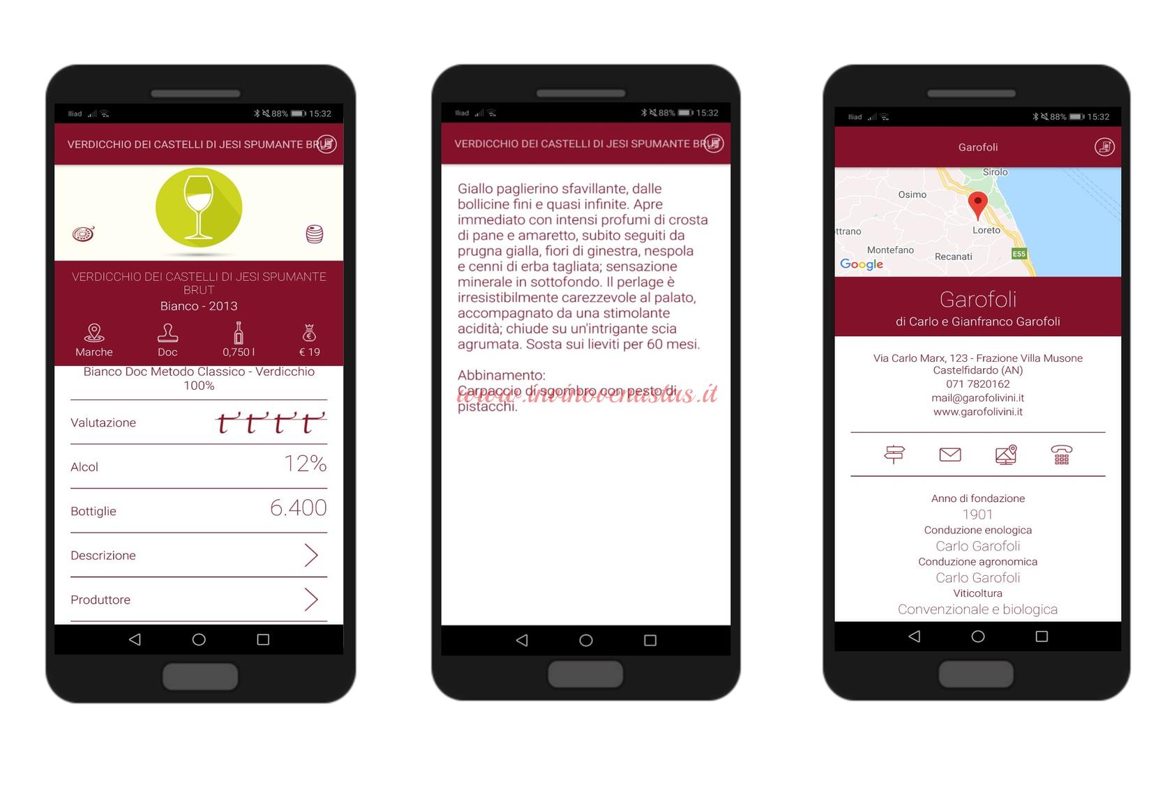 Screenshot per mostrare i risultati dalla ricerca di un vino sull' App Vitae AIS