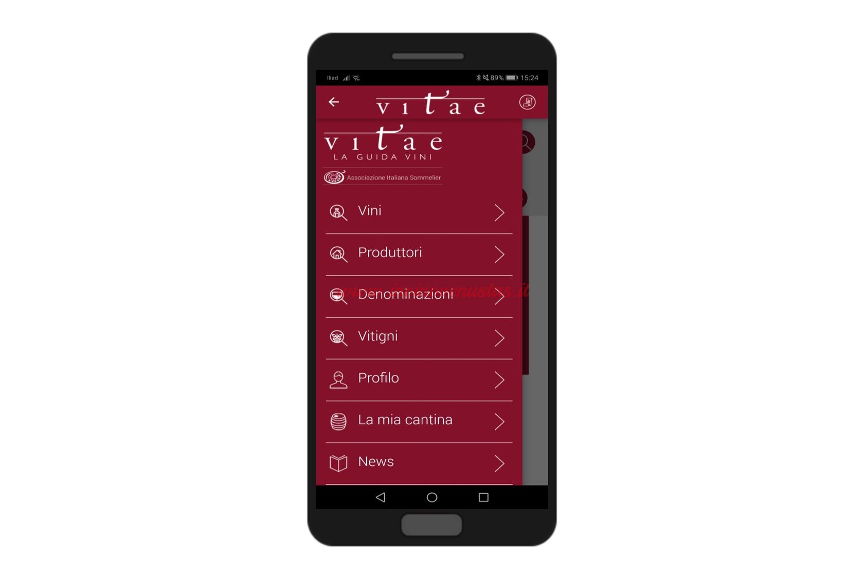Screenshot esempio menu App Vitae AIS