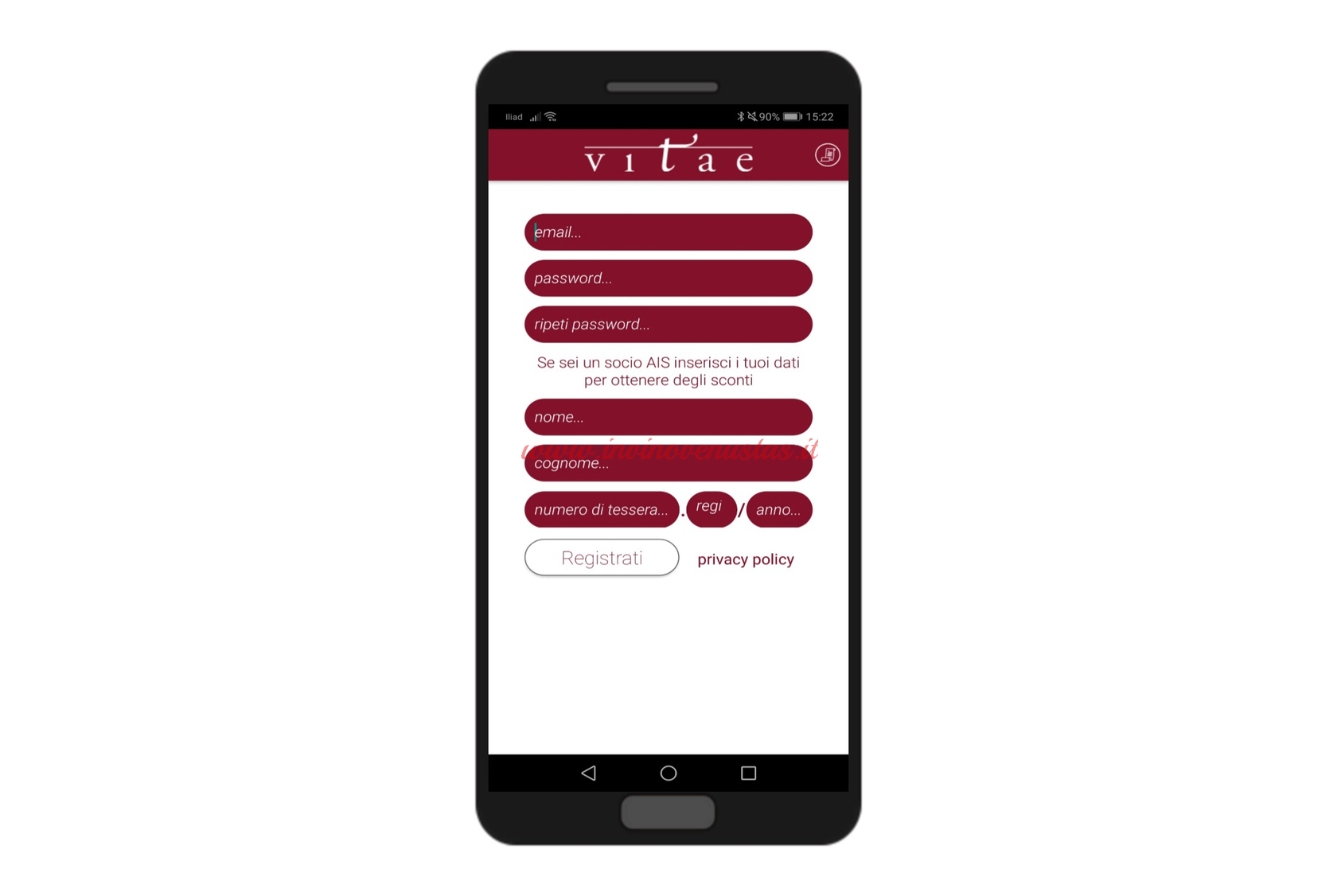 Screenshot esempio registrazione APP Vitae AIS