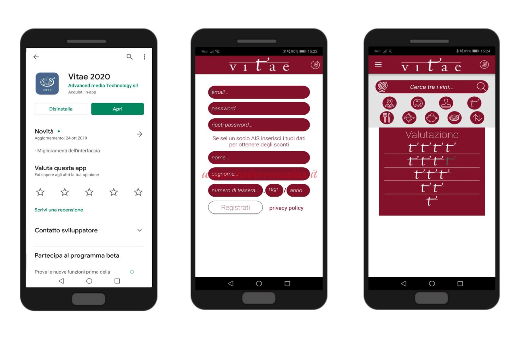 Screenshot per mostrare funzionamento App Vitae AIS