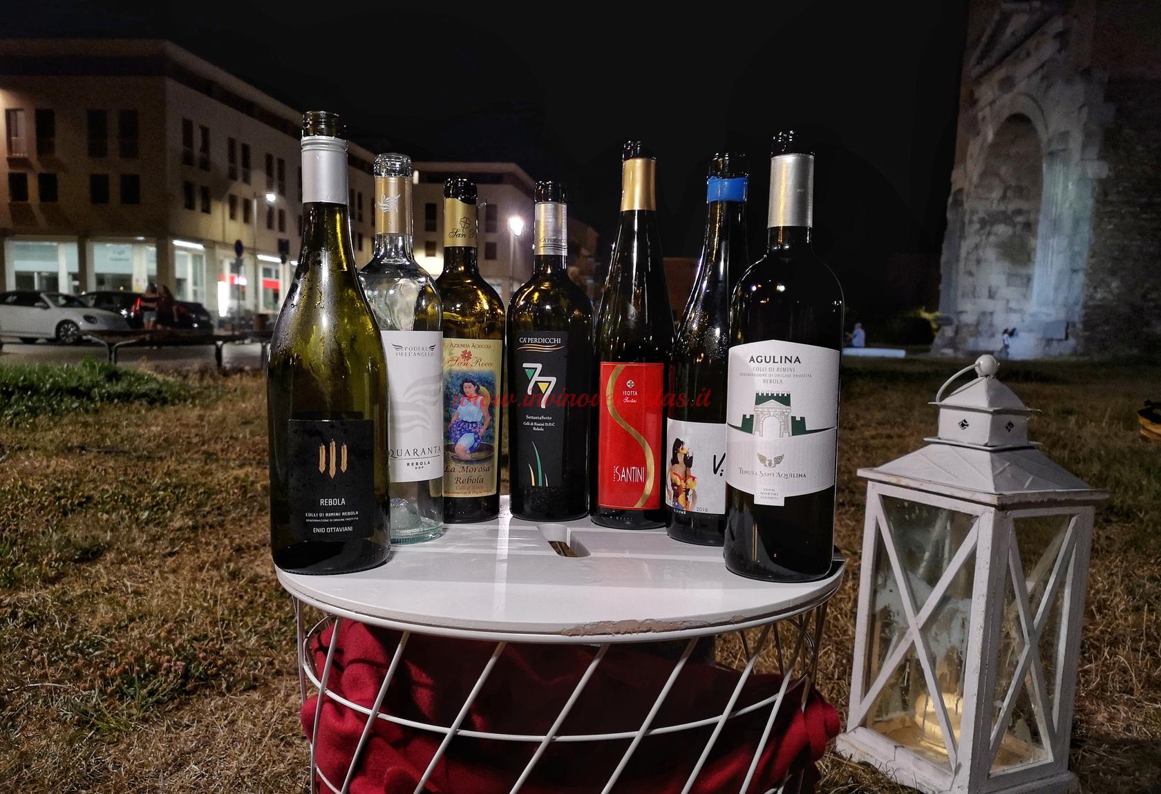 Le Sette Rebole serata Ristorante dallo zio Rimini - Bottiglie in degustazione