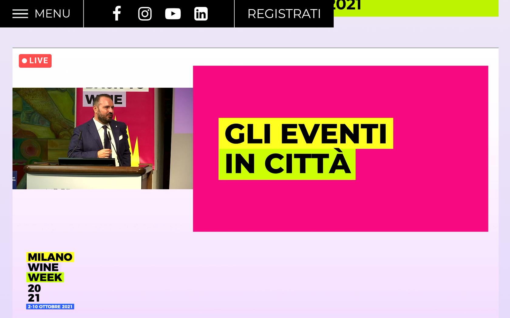 Gli eventi in città Milano Wine Week 2021